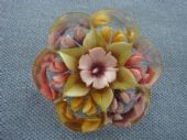 Reverse Carved Lucite Brooch 1950s with Kalidescope Flower Design  (Sold)